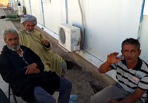 Manifestants sahraouis devant le team-site de la MINURSO à Mijek