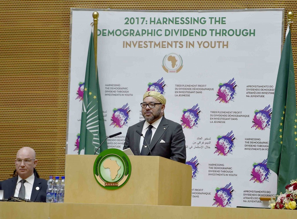 King Mohammed VI delivers a speech to the African Union on Tuesday, January 31.