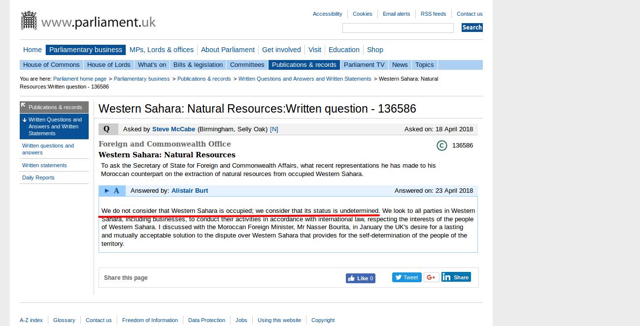 Western Sahara Natural Resources Written question 136586 UK Parliamen