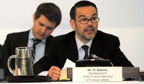 Le porte-parole du Quai d'Orsay, Romain Nadal, lors d'un point de presse. | Archives