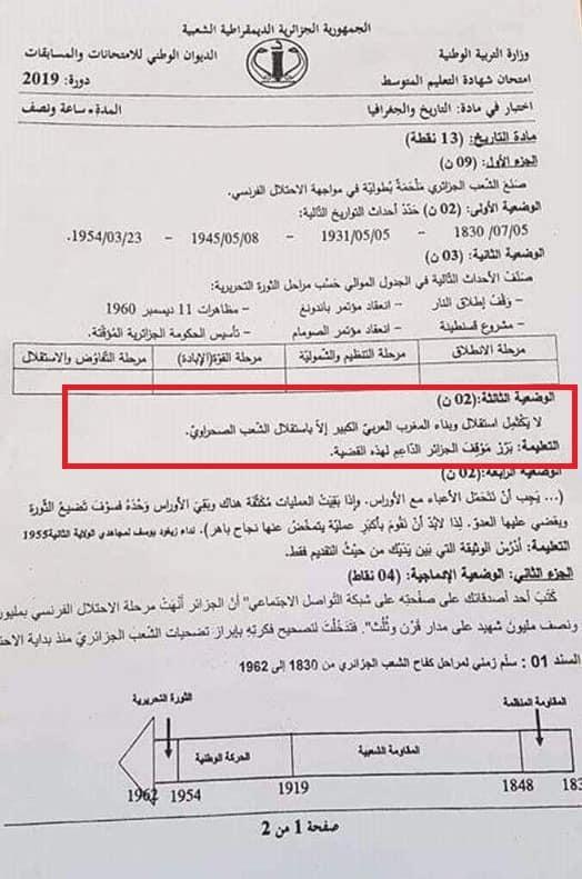 une question hostile au Maroc dans un examen de fin d'année