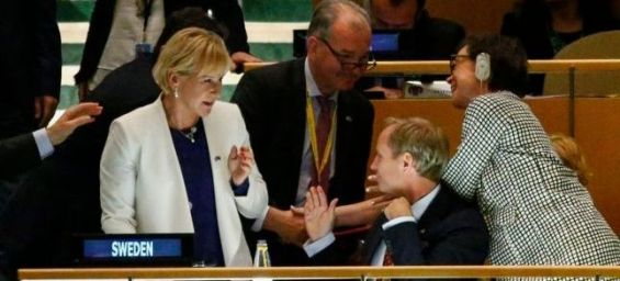 La ministre suédoise des Affaires étrangères après l'élection de son pays au Conseil de sécurité de l'ONU, le 28 juin 2016 à New York.