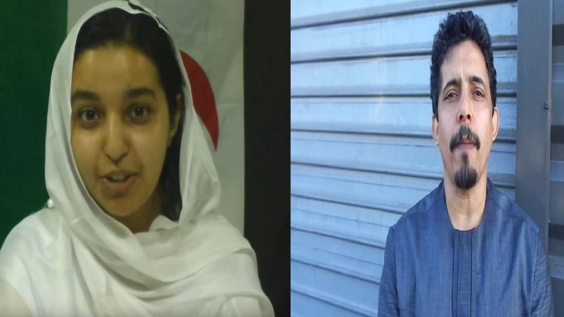 """Bachir Oubi Bouchraya, """"représentant du polisario à Paris"""", et sa jeune dulcinée, Aziza Hameida, prétendue présidente de la """"ligue des jeunes sahraouis""""."""