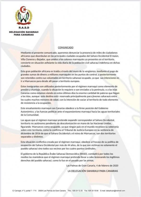 "Polisario Puts Racism towards Sub-Saharans on the Record, Talking of ""black danger"""