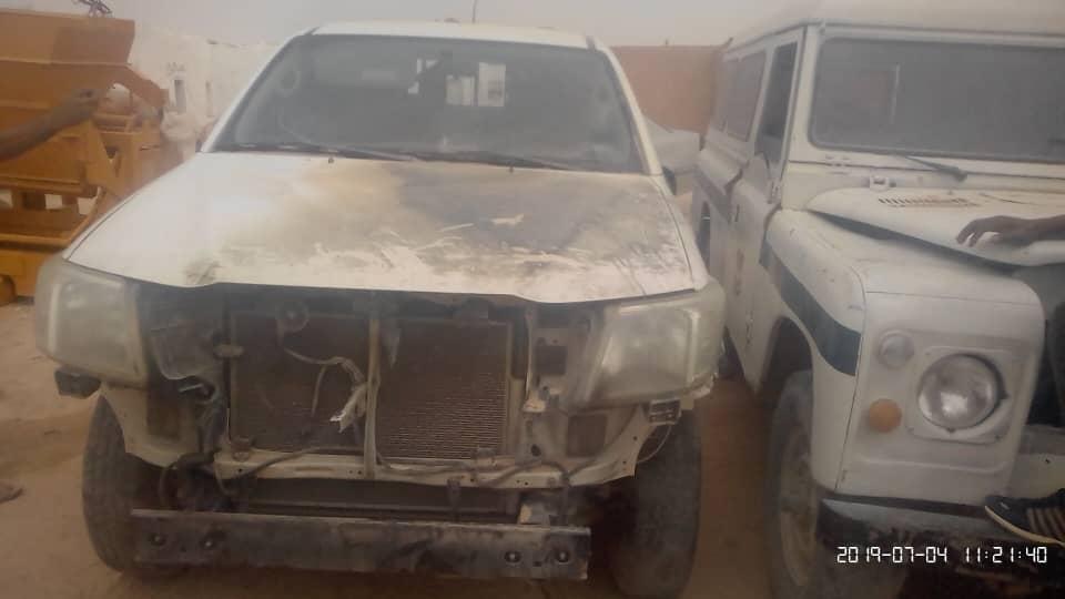 Voiture Brule a Tindouf par les manifestants