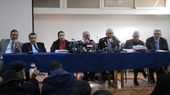 Les avocats de la défense des familles des victimes de Gdeim Izik, le 22 décembre 2016, lors d'une conférence de presse à Rabat.