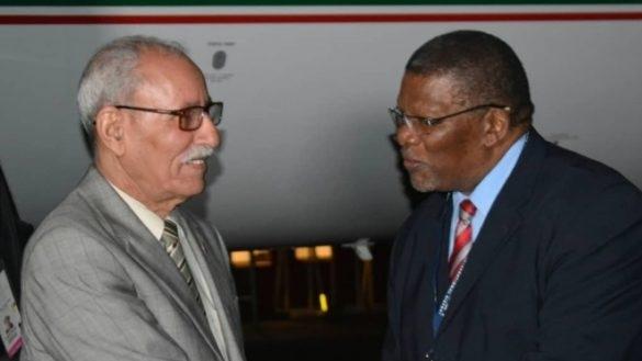 Le chef du polisario reçu par le préposé à la direction des Affaires africaines et du Moyen-Orient au MAE sud-africain, vendredi 24 mai, à l'aéroport de Johannesburg.